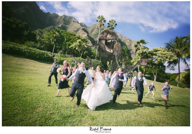 Kualoa Ranch Wedding Dinosaur Trex Photo