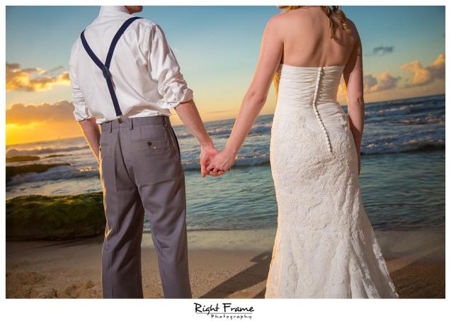 Sunset Beach Wedding Papailoa Beach on North Shore Oahu Hawaii
