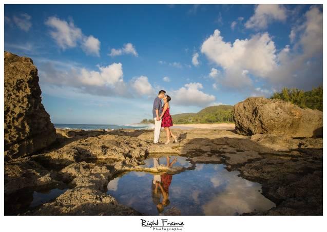 sunset engagement photographer near turtle beach resort oahu