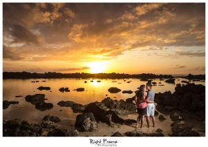 Hawaii Sunset Engagement Photography Sharks Cove Oahu