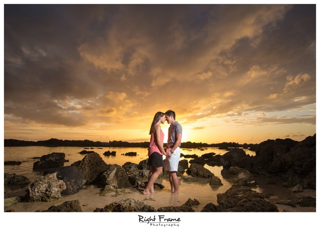 Hawaii Sunset Engagement Photography Sharks Cove Oahu