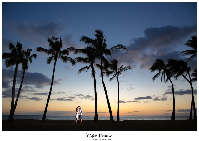 Romantic Hawaii Engagement Sunset Beach Photos