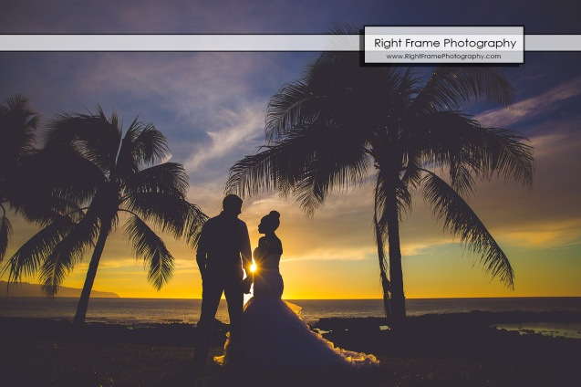 Oahu Sunset Wedding Sharks Cove North Shore