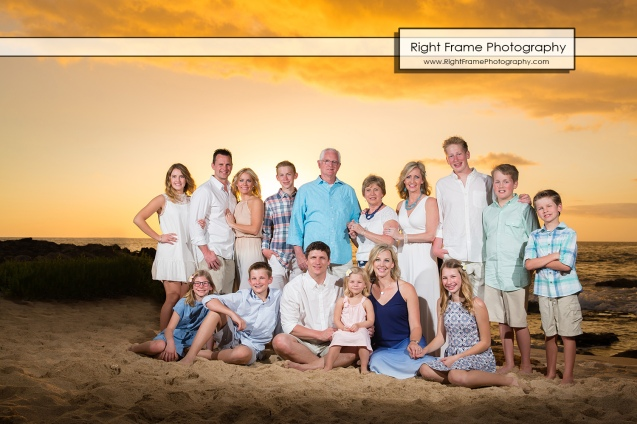 Sunset Large Family Group Portraits near Ko Olina Marriott Beach Villas