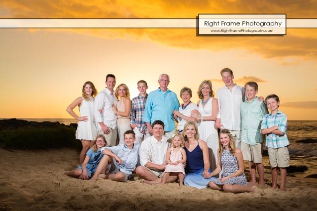 Sunset Large Family Group Portraits near Ko Olina Marriott Beach Villas
