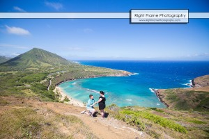 Surprise Engagement Proposing at Hanauma Bay Hike Oahu Hawaii