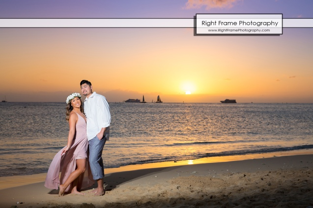 Engagement Photo Shoot at Waikiki Beach Hawaii