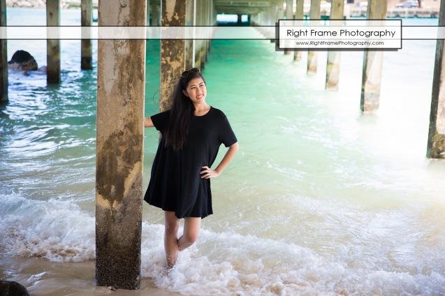 Oahu Senior Portraits at the Makai Research Pier
