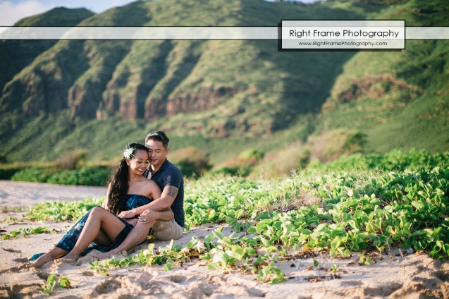 Engagement Pictures at Yokohama Bay Oahu Hawaii