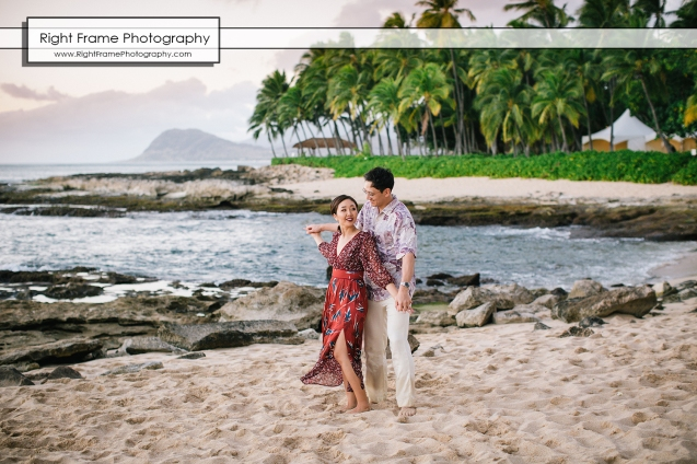 Vacation Photographer in Oahu Sunset Secret Beach Couples